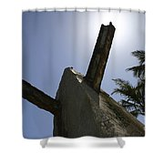 An Actual World War II Beach Obstacle Shower Curtain by Michael Wood