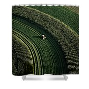An Aerial View Of A Tractor On Curved Shower Curtain