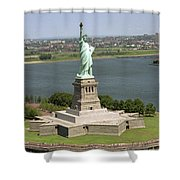 An Aerial View Of The Statue Of Liberty Shower Curtain
