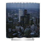 An Aerial View Of Toronto At Dusk Shower Curtain