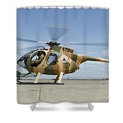 An Afghan Air Force Md-530f Helicopter Shower Curtain