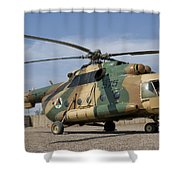 An Afghan Air Force Mi-17 Helicopter Shower Curtain