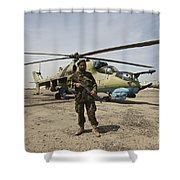 An Afghan Army Soldier Guards A Couple Shower Curtain