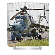 An Afghan Army Soldier Guards A Mi-35 Shower Curtain