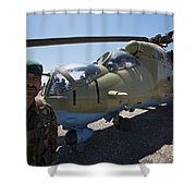 An Afghan Army Soldier Guards An Mi-35 Shower Curtain