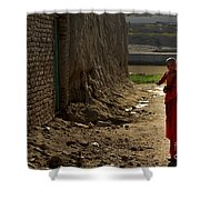 An Afghan Girl Carries Her Little Shower Curtain