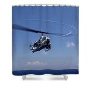 An Ah-1 Cobra In Flight Shower Curtain