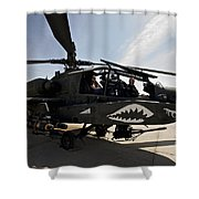 An Ah-64d Apache Helicopter Parked Shower Curtain