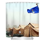 An Air Force Flag In Tent City Waves Shower Curtain