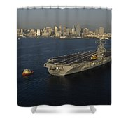 An Aircraft Carrier With The Skyline Shower Curtain