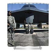 An Airman Guards A B-2 Spirit Shower Curtain