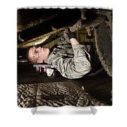 An Airman Inspects The Undercarriage Shower Curtain by Stocktrek Images
