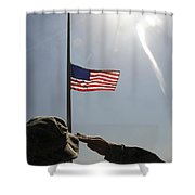 An Airman Salutes The American Flag Shower Curtain