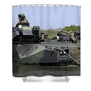 An Amphibious Assault Vehicle Enters Shower Curtain