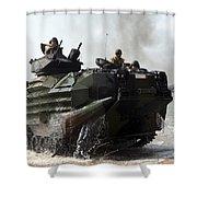 An Amphibious Assault Vehicle Hits Shower Curtain