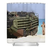 An Amphibious Assault Vehicle Is Guided Shower Curtain