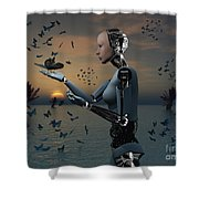 An Android Takes A Closer Look Shower Curtain