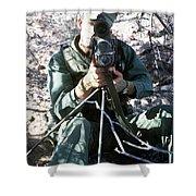 An Army Ranger Sets Up An Anpaq-1 Laser Shower Curtain