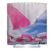 An Arrangement Of Pink And White Beach Shower Curtain