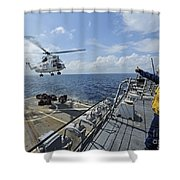 An As-332 Super Puma Helicopter Shower Curtain
