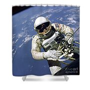 An Astronaut Floats And Maneuvers Shower Curtain