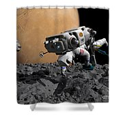 An Astronaut Makes First Human Contact Shower Curtain by Walter Myers