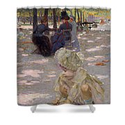 An August Afternoon At The Luxembourg Shower Curtain by Henri-edmond Cross