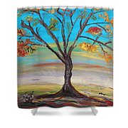 An Autumn Locust Tree Shower Curtain