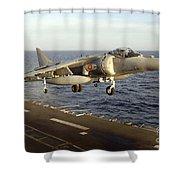 An Av-8b Harrier II Prepares To Land Shower Curtain by Stocktrek Images