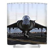 An Av-8b Harrier Maneuvers Shower Curtain