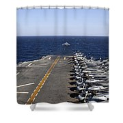An Av-8b Takes Off From The Flight Deck Shower Curtain
