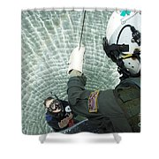 An Aviation Rescue Swimmer Instructor Shower Curtain