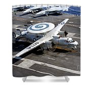 An E-2c Hawkeye Lands On The Flight Shower Curtain by Stocktrek Images