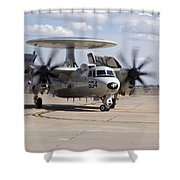 An E-2c Hawkeye On The Runway At Cannon Shower Curtain