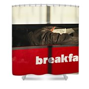 An Early Morning Diner Reads The Paper Shower Curtain