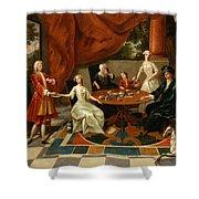An Elegant Family Taking Tea  Shower Curtain by Gavin Hamilton