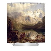 An Extensive Alpine Lake Landscape Shower Curtain