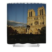 An Exterior View Of Notre Dame Shower Curtain