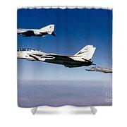 An F-14 Tomcat And Two F-4 Phantom IIs Shower Curtain