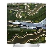 An F-16 Fighting Falcon Flies Near Base Shower Curtain