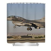 An  F-16b Of The Turkish Air Force Shower Curtain