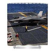 An F-35b Lightning II Makes A Vertical Shower Curtain