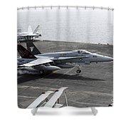 An Fa-18a+ Hornet Lands Aboard Shower Curtain