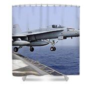 An Fa-18c Hornet Catapults Shower Curtain