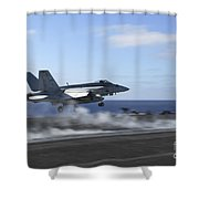 An Fa-18e Super Hornet Catapults Shower Curtain