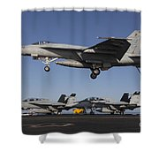 An Fa-18e Super Hornet Comes In For An Shower Curtain
