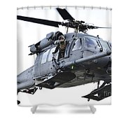 An Hh-60g Pavehawk Helicopter In Flight Shower Curtain