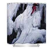 An Ice Climber On Habeggers Falls Shower Curtain