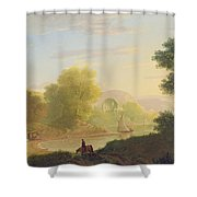 An Imaginary Coast Scene - With The Temple Of Venus At Baiae Shower Curtain