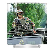 An Infantry Soldier Of The Belgian Army Shower Curtain